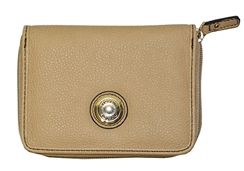 Tommy Hilfiger Women Signature Coin Zip French Wallet (OS, Beige)