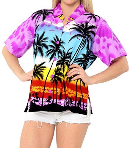 LA LEELA Likre Camp Aloha Beach Top Shirt Violet 10|XXL - US 44 - 48C