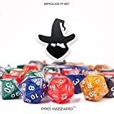 (35pcs) DND Dice Set in 5 Marble Colors Dice D20 D12 D10 D8 D6 D4 D% for Dungeons and Dragons RPG MTG Board Games or Math With Free Premium Quality Velvet Satin Bag by Pro Wizzard