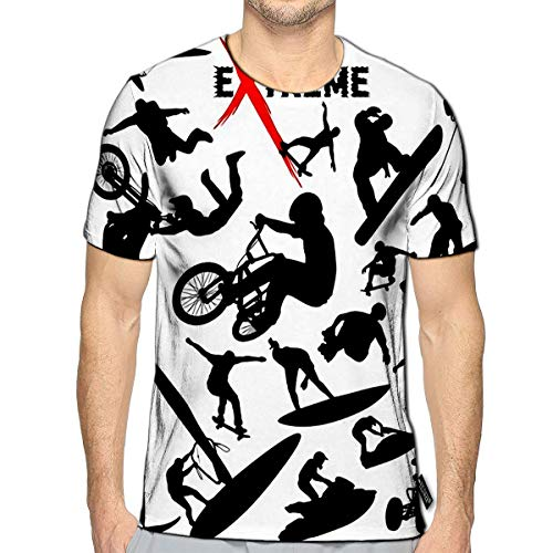 3D Printed T Shirts Extreme Sport Silhouettes Casual Mens Hipster Top Teesa