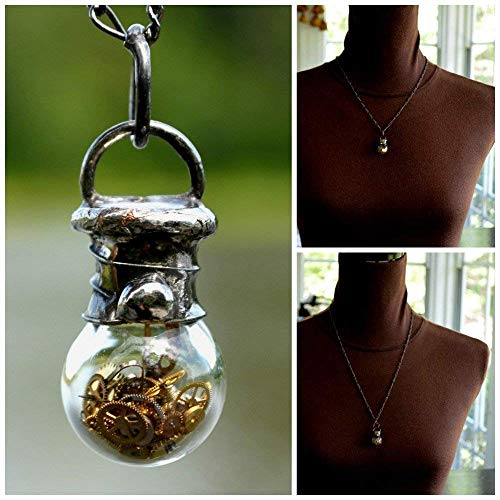 Handmade Tiny Glass Shaker Bottle with Real Antique Pocket Watch Parts, Steampunk Jewelry Necklace 2752