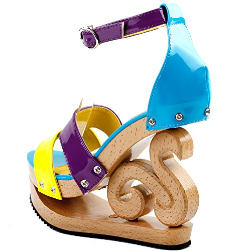 Mostrar historia Sexy Colorblock tobillo correa madera cuña plataforma Zuecos Sandalias, LF30833 Amarillo