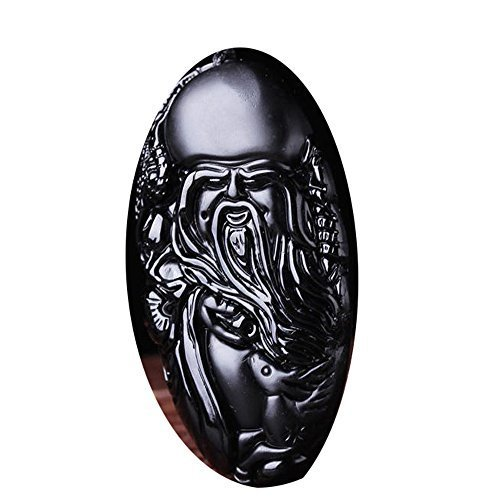 Hand carved Natural Obsidian longevity God Buddha Statue Necklace pendant