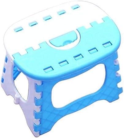 NO BRAND Paso Escalera Plegable plástico Plegable portátil pequeño Banco Silla for niños de los niños al Aire Libre Baño Viajes de Camping con la manija (Color : Blue): Amazon.es: Hogar