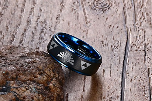 Tungsten Carbide Two-tone Blue Black Step Edge Legend of Zelda Triforce Ring Bands for Men Boy,size 7 by Mealguet Jewelry (Image #2)