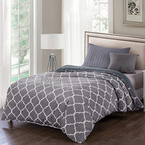 (Royhom Removable Duvet Covers for Weighted Blanket | Printing & Minky Pot Duvet Cover | Comfortable Blanket Cover | Double Grey 48