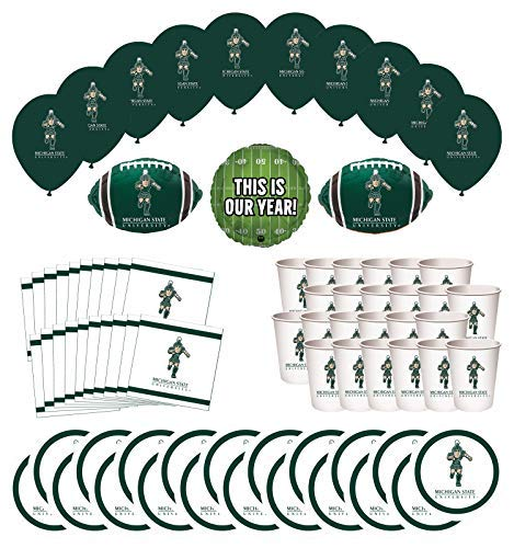 - Mayflower Products Michigan State Spartans Football Tailgating Party Supplies for 20 Guest and Balloon Bouquet Decorations