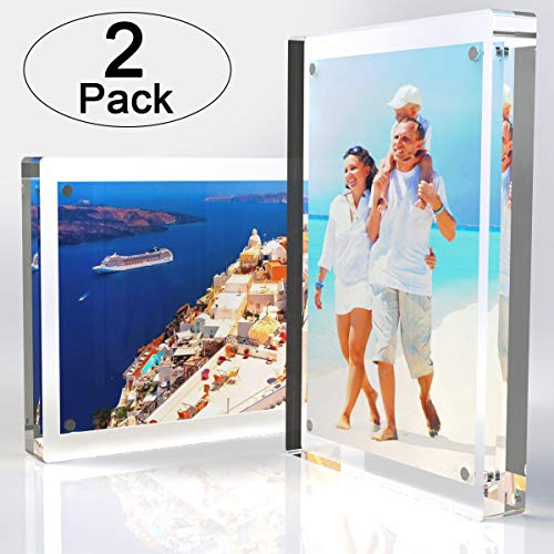 - Tomorotec 2-Pack [5 x 7 inch] High Transparency Magnetic Picture Frames Frameless, Acrylic Photo Frame Double Sided Free Standing Desktop Display Stand(2 Pack)