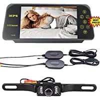 Eaglerich 7 TFT Bluetooth Mirror Camera mp5+long Plate Night Vision Rearview Monitor+wireless Transmitter Receiver Kit
