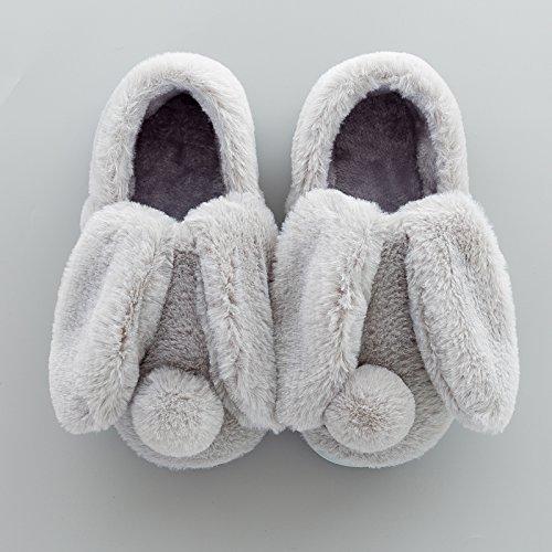 LaxBa Donna Uomo Indoor pattino antiscivolo pantofole grigio l'adulti41/42