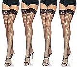 Leg Avenue Women's Fishnet Thigh High Stockings w/Silicone Lace Top, 4-Pair, Black
