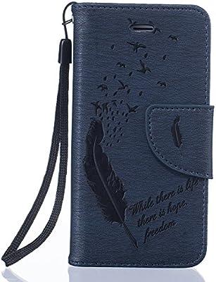 78a69a21c7 Aeeque® Bleu Foncé Luxe Portefeuille Etui Housse pour iPhone 5 5S SE Coque  en Premium Cuir Conception de Plume Rabat Anti Rayure Fonction avec Crédit  Carte ...