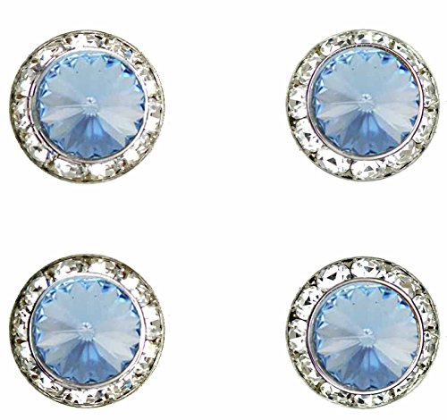 Horse Jewelry Show - Horse jewelry magnetic contestant show number pins Light Sapphire Swarovski crystal set of 4