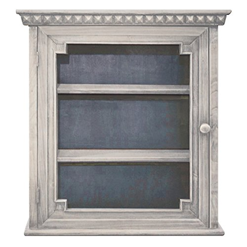 Architectural Wall Cabinet, White with Indigo interior - Distressed White Cabinet