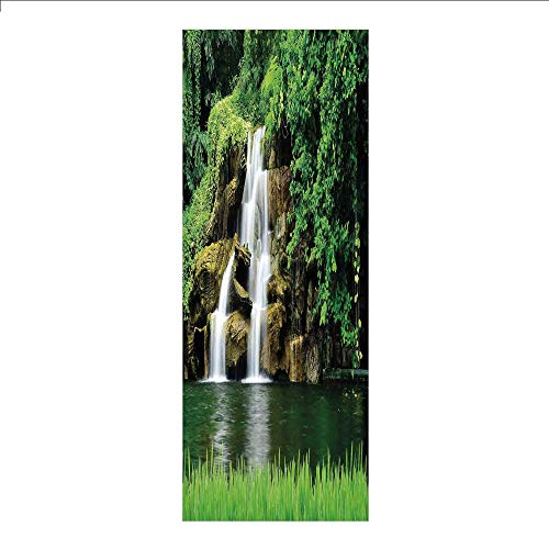 3D Decorative Film Privacy Window Film No Glue,Waterfall Decor,Double Waterfalls Flow to Natural Green Lake with Bushes and Grass Like Garden,Green,for Home&Office