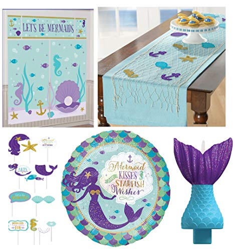 Let's Be Mermaids Party Decorating Kit - Includes A Fishing Net Table Runner, a Mermaid Tail Candle, Scene Setter with Props and a Mermaid Balloon ()
