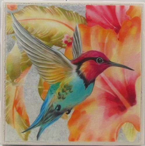 Hummingbird Coaster - Ceramic Tile Coasters - Hummingbirds - Set of 4 - Custom Made To Order - Check out more designs by typing in - Made Perfect Coaster Company - We Carry Personalized Stone & Monogram Coasters.