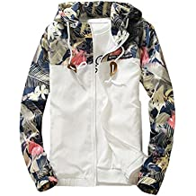 Ankola Men's Jackets, Floral Bomber Jacket Hip-hop Slim Fit Sweatshirt Zipper Hooded Coat