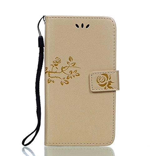 SRY-Funda móvil Samsung Samsung J3 2016 correa de la caja del acollador cubierta de cuero de la PU sintética caso de la cartera Folio Shell en relieve patrón de flores cubierta de la caja para Galaxy  Rose