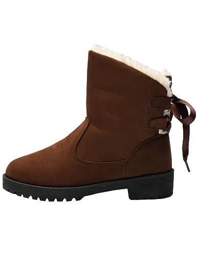 4bbc75b0a804b5 Wicky LS Damen Winter Pelz Schneestiefel Warm Sneakers Wildleder Flache  Plattform Schuhe