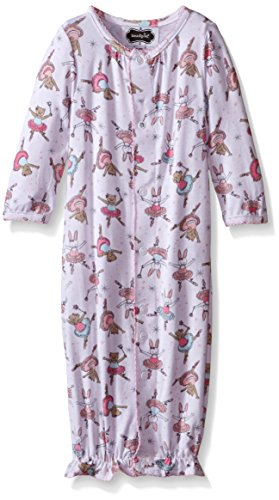 Mud Pie Baby Girl Convertible Sleepwear Gown,  Pink,  0-3 Months (Dress Onesie Ballerina)