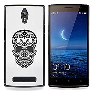 - Floral Art Skull Death Biker Tattoo Ink - - Snap-On Rugged Hard Cover Case Funny HouseFOR Oppo Find 7 X9007
