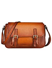 S-ZONE Genuine Leather Handbags Vintage Shoulder Bag Tote Bag Cross Body Purse and Messenger Bag for Womens and Ladies