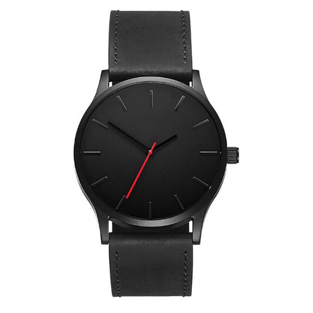 YaidaFashion Business Quartz Large Dial Watch for Men's Matte Belt Wrist Watch (A)