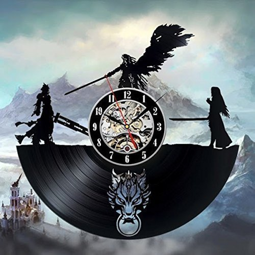 New! The Final Fantasy Theme Art Vinyl Record Wall Clock Modern&Vintage Interior Design Decoration Black 12