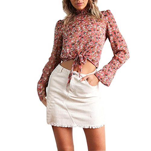 Women Bandage Shirts,Todaies Sexy Women Flower Print Chiffon Bandage Long Sleeve Chic Crop Top ()