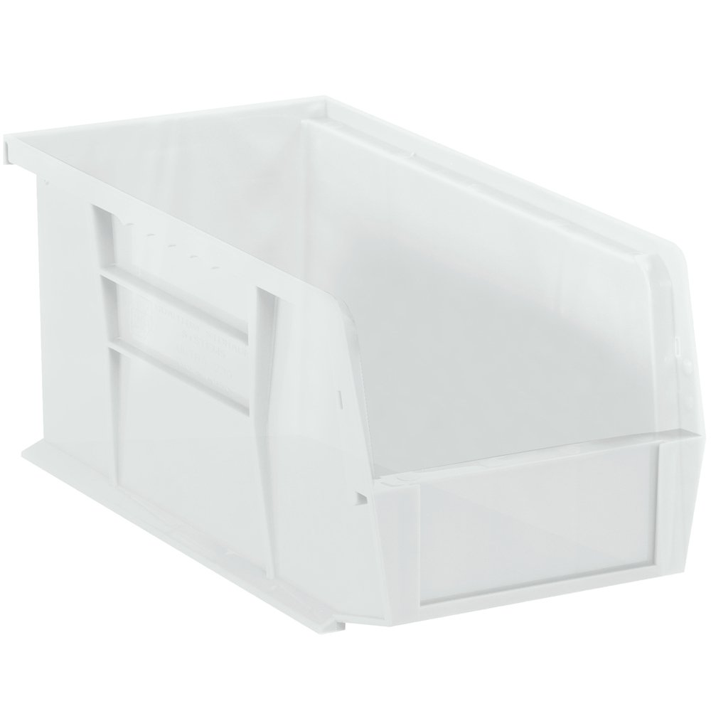 Aviditi BINP1155CL Plastic Stack and Hang Bin Boxes, 10 7/8'' x 5 1/2'' x 5'', Clear (Pack of 6)