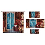 iPrint Bathroom 4 Piece Set Shower Curtain Floor mat Bath Towel 3D Print,Frozen Window Traditional Ritual Annual Festive,Fashion Personality Customization adds Color to Your Bathroom.