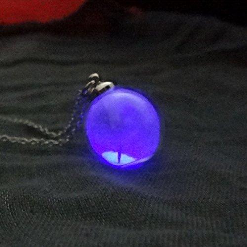 UNKE Glow in The Dark Luminous Dandelion Glass Globe Pendant Necklace,Purple
