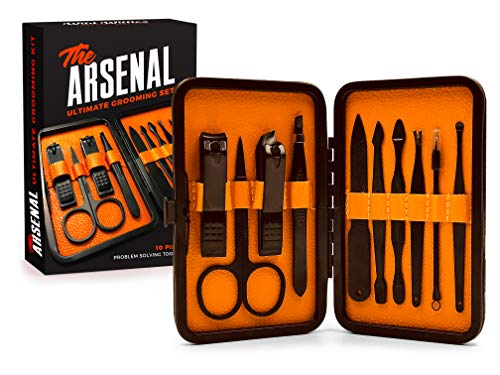 High End Grooming Manicure kit for Men and Women - The Arsenal 10pc Ultimate Manicure and Pedicure Set By Wild Willies from Wild Willies