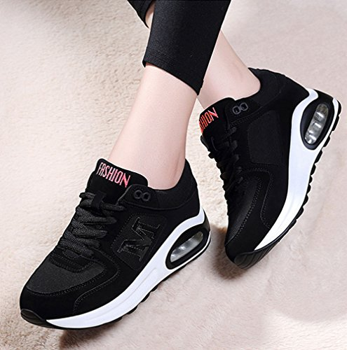 tamaño Wedge Tulle para Ladies 38 Joint Zapatos de Spring Lace Comfort Zapatos Mujer Heel Sneakers Split Color Negro up Athletic Fall Casuales qwRFf