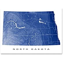 North Dakota Map Print, ND State Art, USA