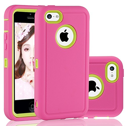 FOGEEK iPhone 5C Case, Dual Layer Anti Slip 360 Full Body Cover Case PC and TPU Shockproof Protective Compatible for Apple iPhone 5C ONLY (Pink/Green)