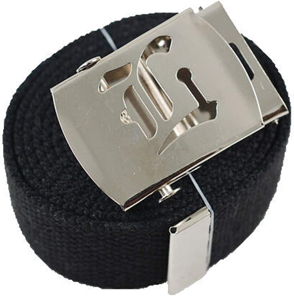 Style Old English Canvas Web Military Black Belt /& Buckle 60 inchL #MNAS