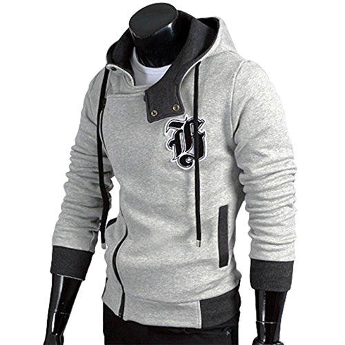 PAUL JONES Mens Oblique Hooded Sweatshirts Outwear Light Grey£¨L)