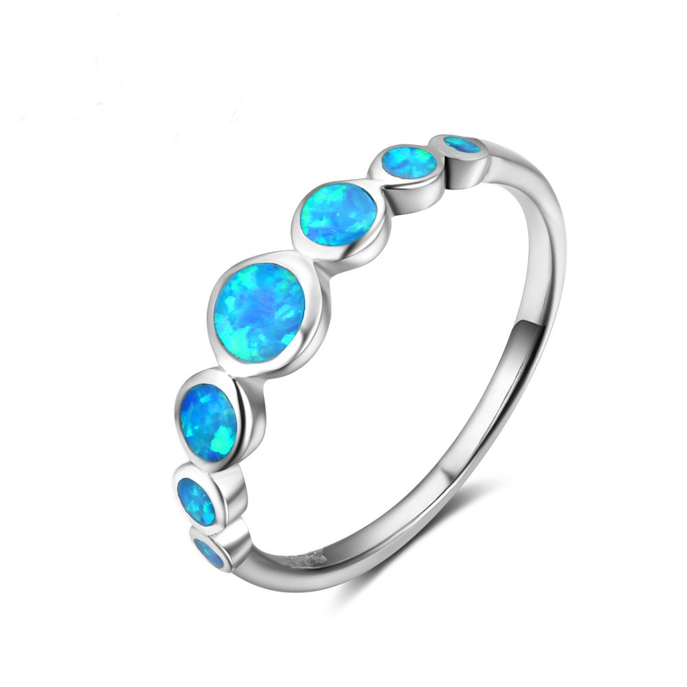 ACEFEEL JEWELRY Fire Lab Created Blue Ocean Opal Eternity Band Ring Size 7