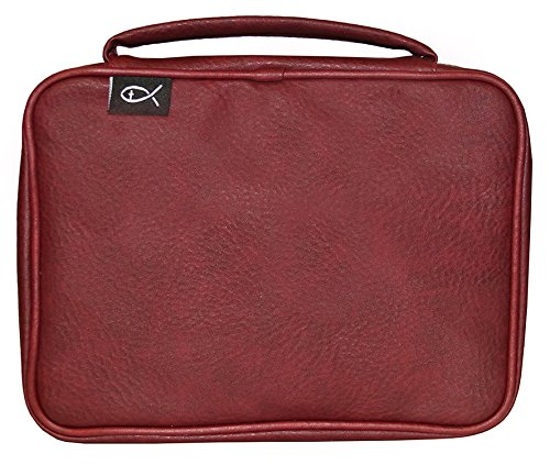 Divinity Boutique Burgundy Simple Fish PU, Large Bible Cover by Divinity Boutique