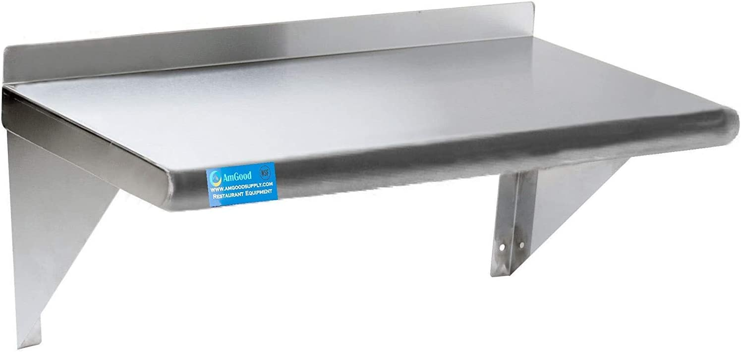 "AmGood 48"" Long X 12"" Deep Stainless Steel Wall Shelf 