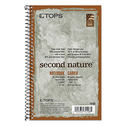 TOPS Second Nature Notebook, Recycled, 5 x 8 Inches, Narrow Rule, 80 Sheets per Book, Green Cover (74108)