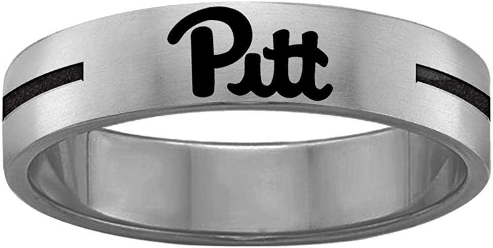 College Jewelry Quad Logo Pittsburgh Panthers Rings Stainless Steel 8MM Wide Ring Band