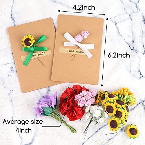 Shindel Dried Flowers Greeting Cards, 20PCS Handmade Greeting Cards Vintage Kraft Blank Note Card Thank Notes for Birthday Party, Valentines Day, Mothers Day