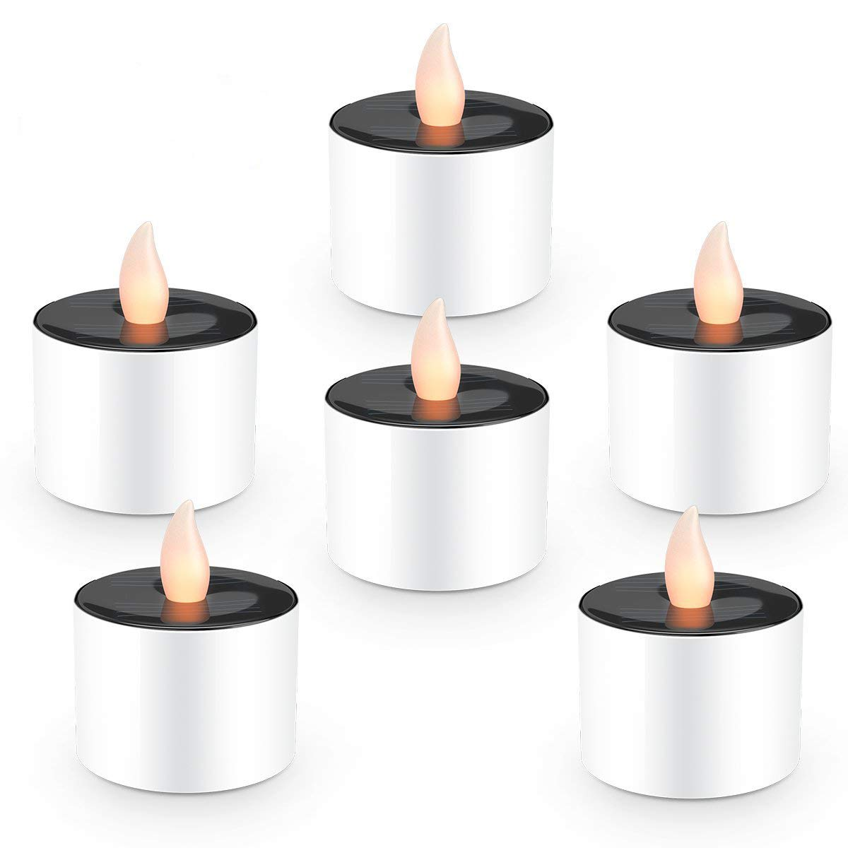 Solar Candles Flameless Rechargeable Candles LED Tea Lights Candles Battery Operated Upgraded Solar Power Waterproof Warm White Candle Set of 6 for Home Bar Bedroom Living Room Garden Outdoor Indoor by EXPOWER