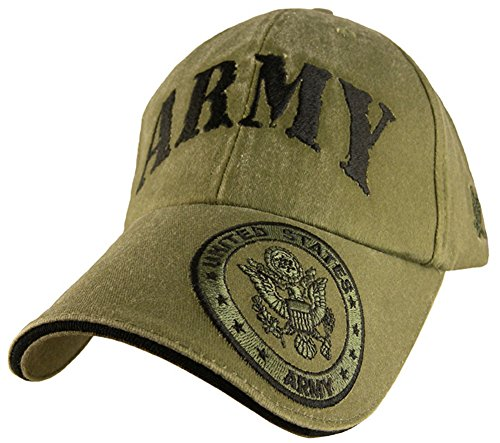 US Army Presidential Seal Logo Embroidered Hat - Green Adjustable Buckle Closure Cap