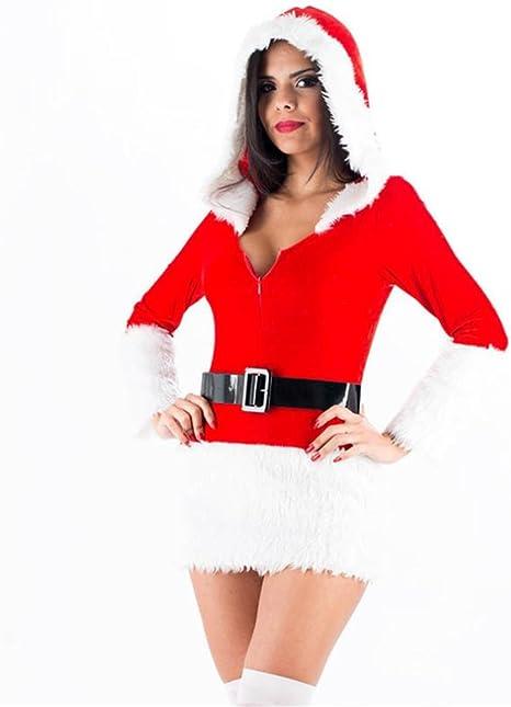 FENGHAO Disfraz de Mujer Rojo Navidad Manga Larga Mini Vestido de ...