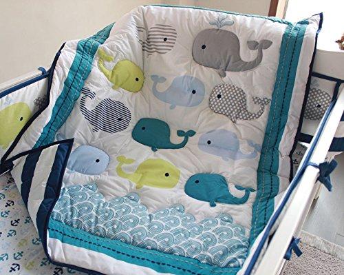 NAUGHTY BOSS Unisex Baby Bedding Set Cotton 3D Embroidery Ocean Whale Quilt Bumper Mattress Cover Blanket 8 Pieces Ocean Blue