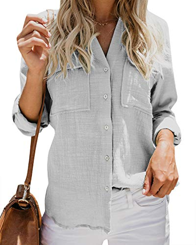 - Womens Button Down V Neck Shirts Roll Up Long Sleeve Blouse Loose Fitted Work Plain Tops with Pockets Grey